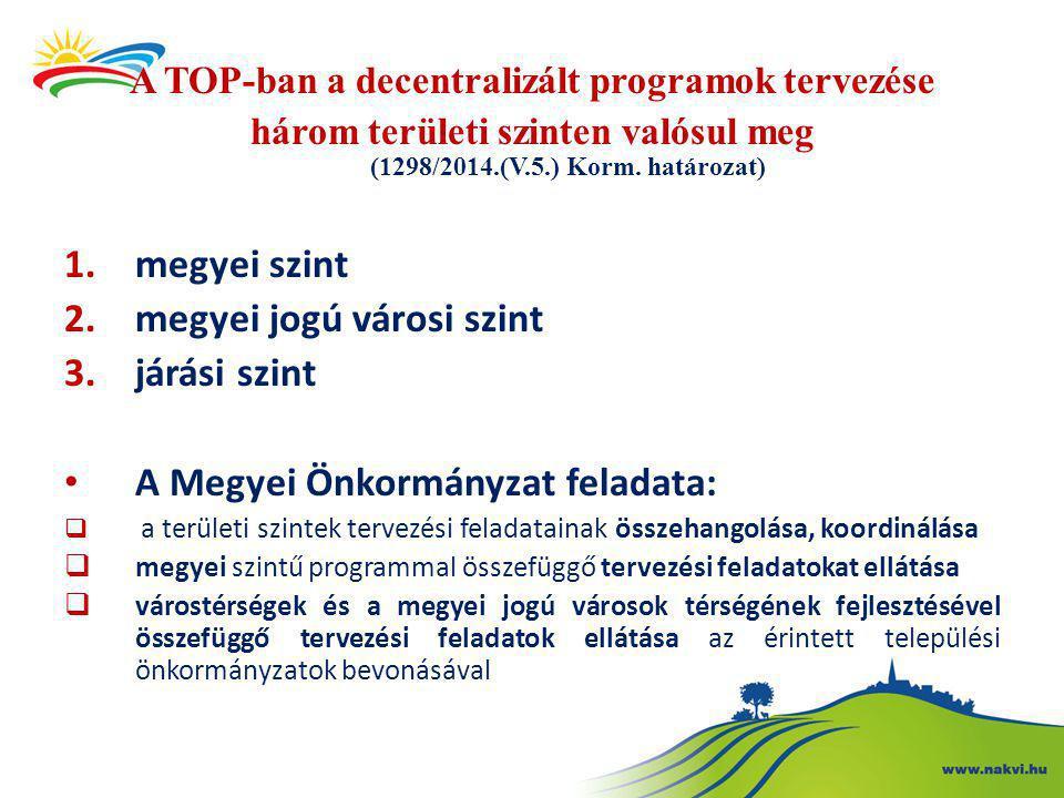 A TOP-ban a decentralizált programok tervezése három területi szinten valósul meg (1298/2014.(V.5.) Korm. határozat) 1.megyei szint 2.megyei jogú váro