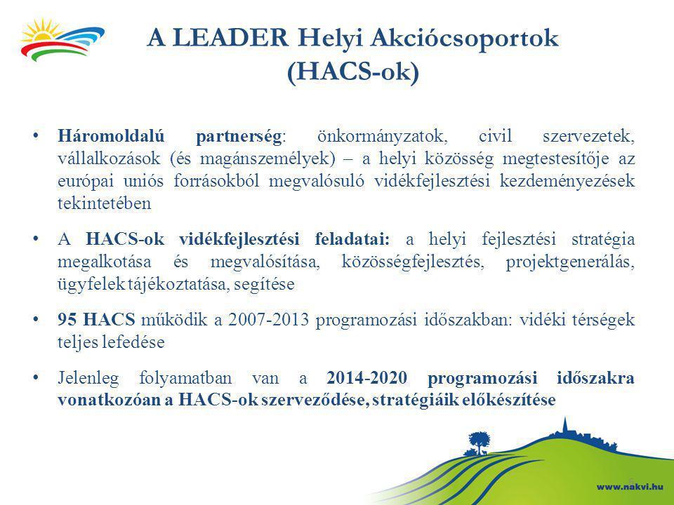 A LEADER Helyi Akciócsoportok (HACS-ok) Háromoldalú partnerség: önkormányzatok, civil szervezetek, vállalkozások (és magánszemélyek) – a helyi közössé