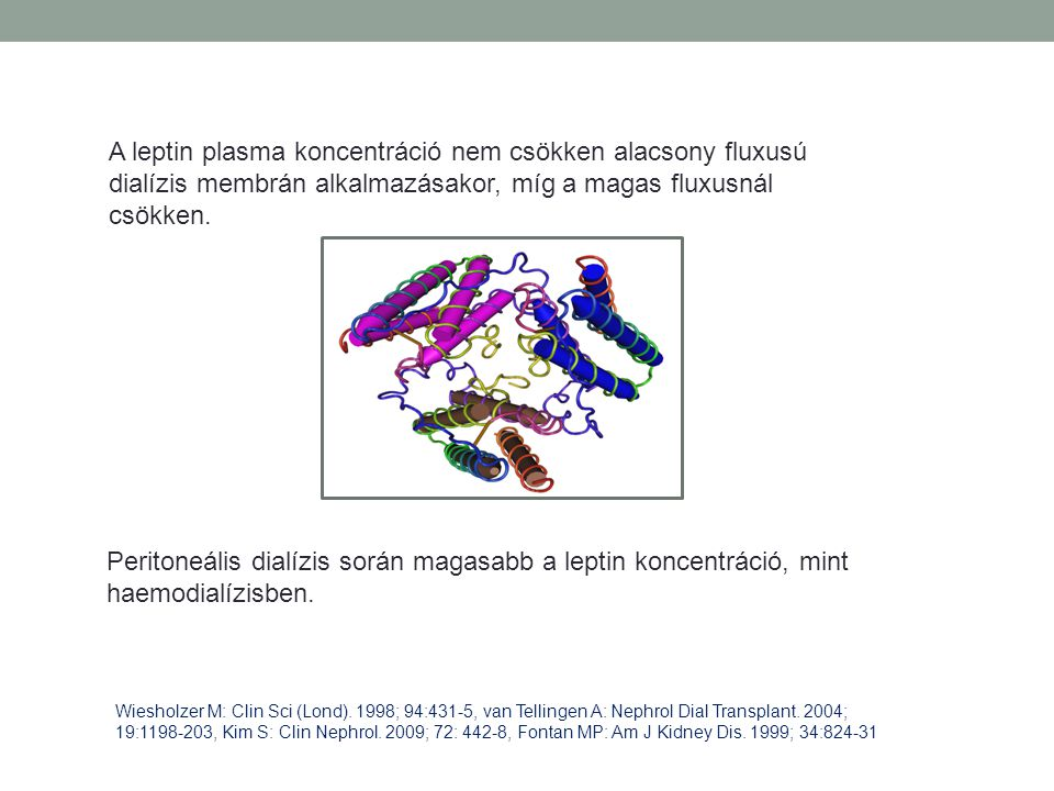 A leptin plasma koncentráció nem csökken alacsony fluxusú dialízis membrán alkalmazásakor, míg a magas fluxusnál csökken. Peritoneális dialízis során