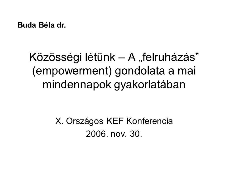 """Közösségi létünk – A """"felruházás"""" (empowerment) gondolata a mai mindennapok gyakorlatában X. Országos KEF Konferencia 2006. nov. 30. Buda Béla dr."""