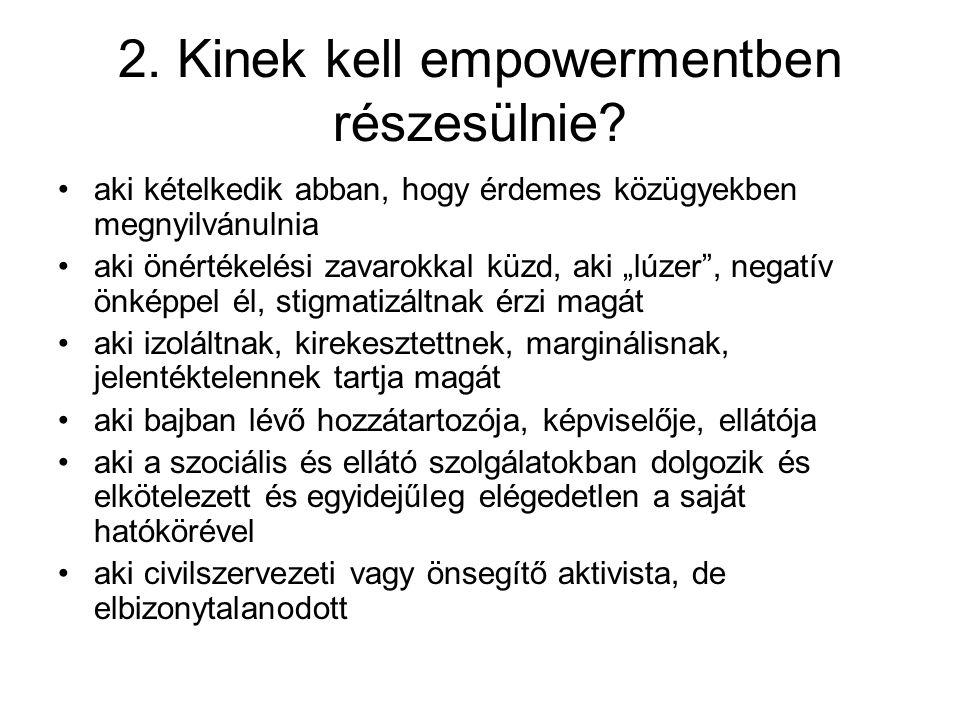 """2. Kinek kell empowermentben részesülnie? aki kételkedik abban, hogy érdemes közügyekben megnyilvánulnia aki önértékelési zavarokkal küzd, aki """"lúzer"""""""