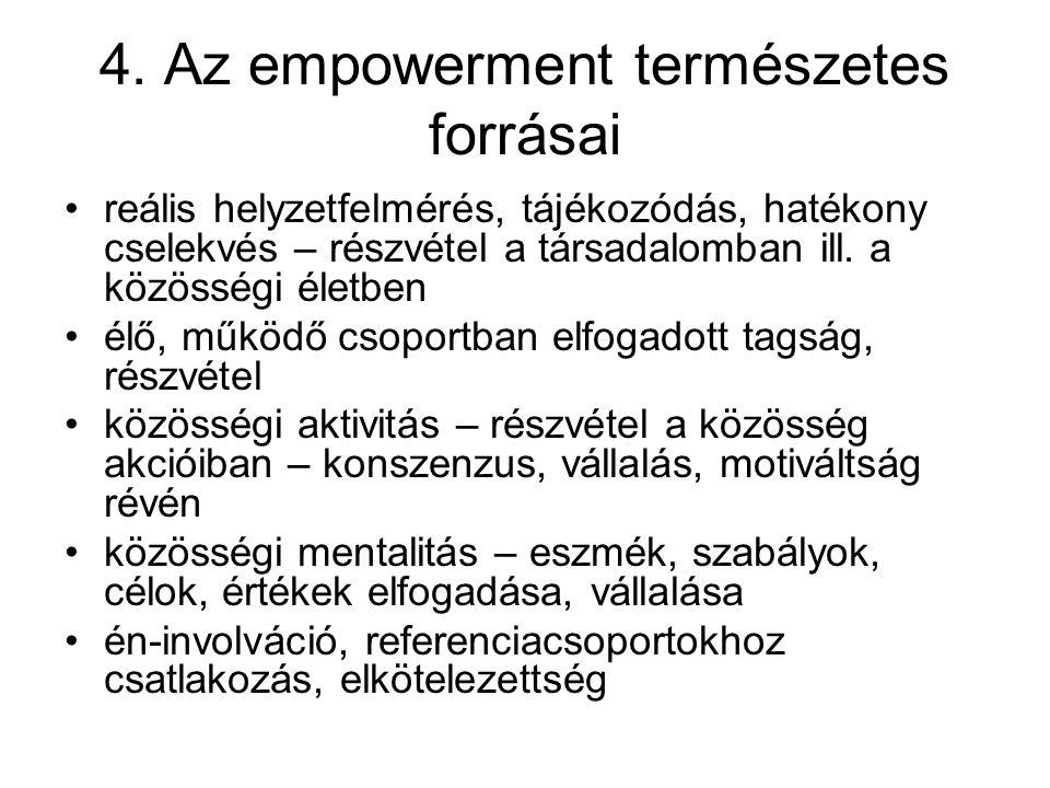 4. Az empowerment természetes forrásai reális helyzetfelmérés, tájékozódás, hatékony cselekvés – részvétel a társadalomban ill. a közösségi életben él