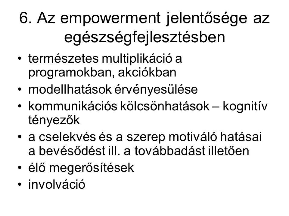 6. Az empowerment jelentősége az egészségfejlesztésben természetes multiplikáció a programokban, akciókban modellhatások érvényesülése kommunikációs k