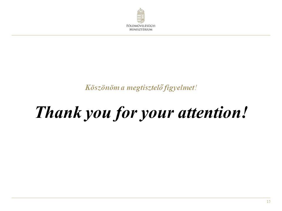 15 Köszönöm a megtisztelő figyelmet! Thank you for your attention!