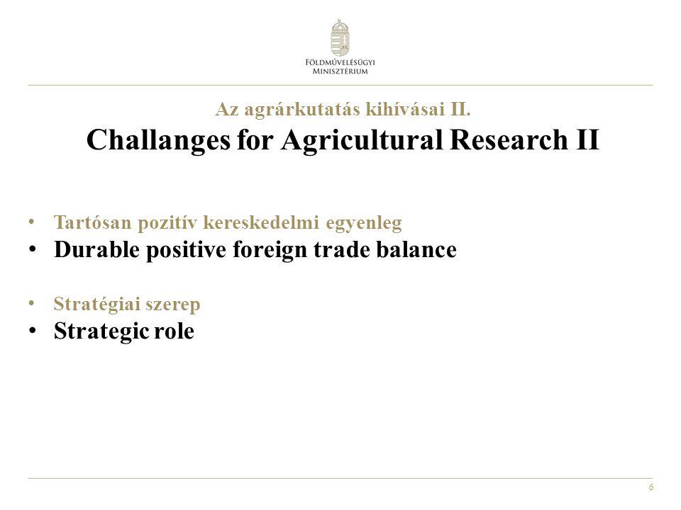 6 Az agrárkutatás kihívásai II. Challanges for Agricultural Research II Tartósan pozitív kereskedelmi egyenleg Durable positive foreign trade balance