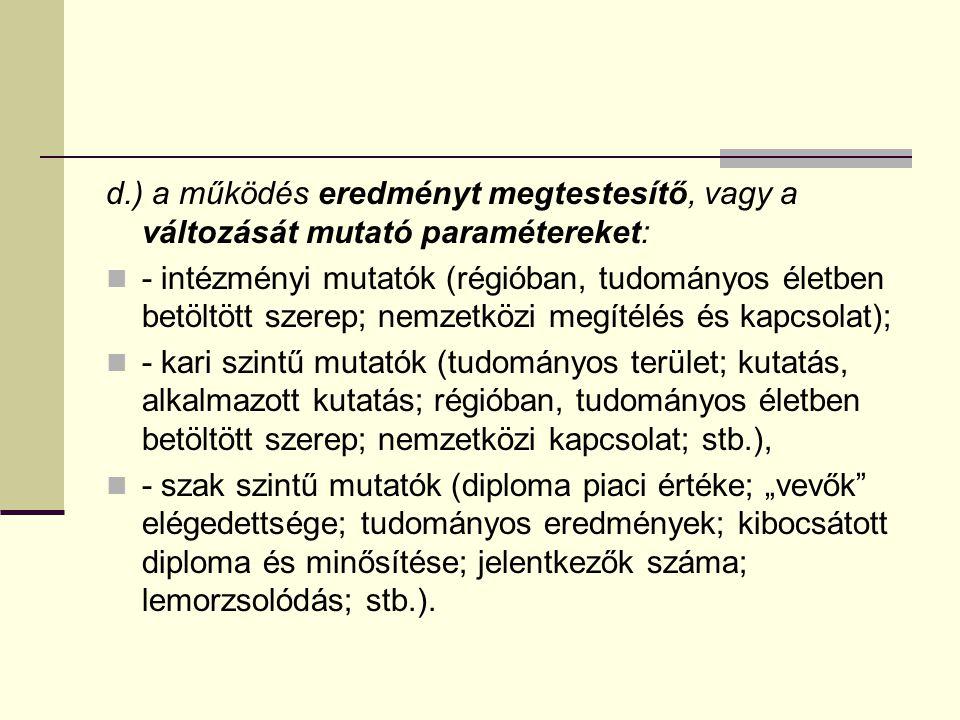 d.) a működés eredményt megtestesítő, vagy a változását mutató paramétereket: - intézményi mutatók (régióban, tudományos életben betöltött szerep; nem