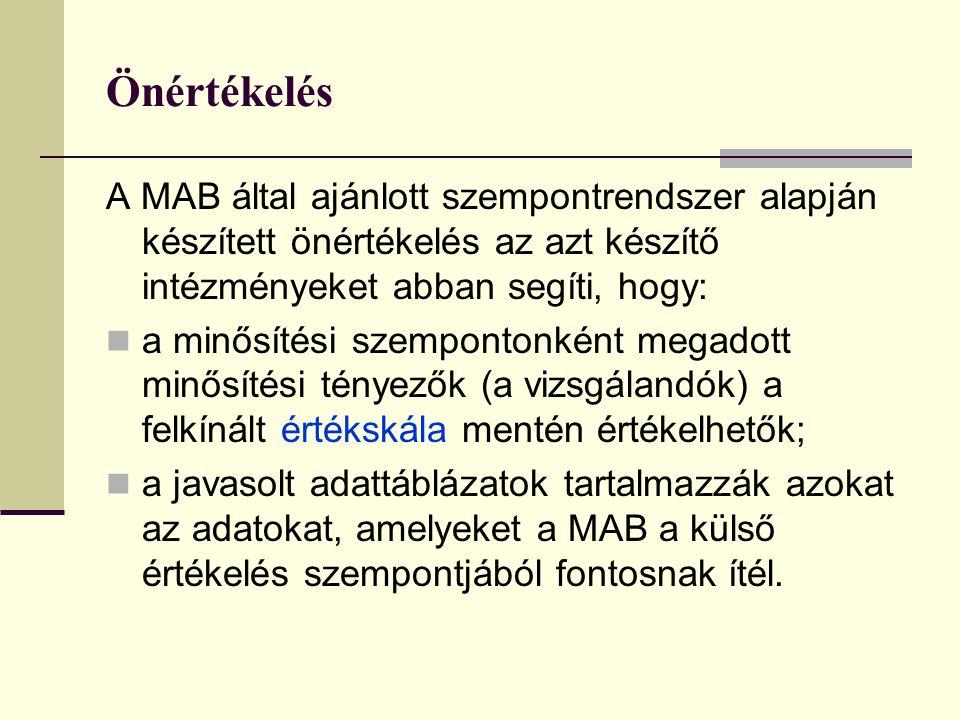 Önértékelés A MAB által ajánlott szempontrendszer alapján készített önértékelés az azt készítő intézményeket abban segíti, hogy: a minősítési szempont