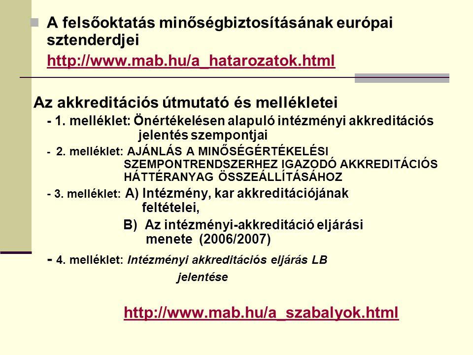 A felsőoktatás minőségbiztosításának európai sztenderdjei http://www.mab.hu/a_hatarozatok.html Az akkreditációs útmutató és mellékletei - 1. melléklet