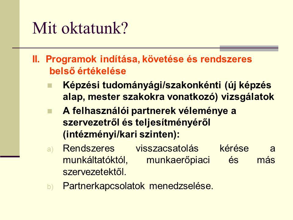 Mit oktatunk? II. Programok indítása, követése és rendszeres belső értékelése Képzési tudományági/szakonkénti (új képzés alap, mester szakokra vonatko
