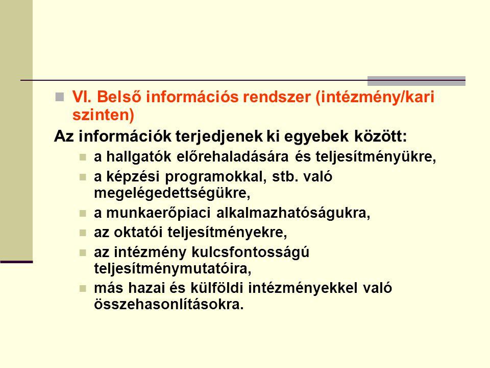 VI. Belső információs rendszer (intézmény/kari szinten) Az információk terjedjenek ki egyebek között: a hallgatók előrehaladására és teljesítményükre,