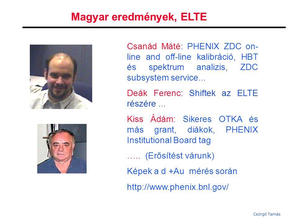Csörgő Tamás Magyar eredmények, Debrecen Tarján Péter: Teljes időben, és erővel dolgozik a témán, fizikailag a BNL-ben van, lényeges és a többi PHENIXes által értékelt hozzájárulást adott az Au Au és a d +Au adatok kiértékeléséhez.