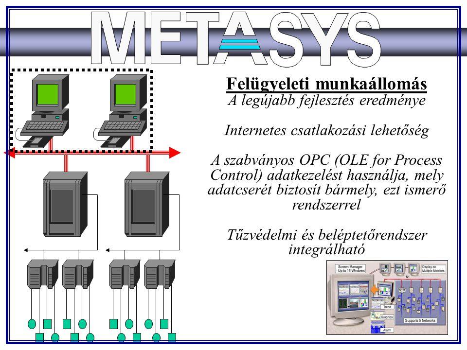 Felügyeleti munkaállomás A legújabb fejlesztés eredménye Internetes csatlakozási lehetőség A szabványos OPC (OLE for Process Control) adatkezelést használja, mely adatcserét biztosít bármely, ezt ismerő rendszerrel Tűzvédelmi és beléptetőrendszer integrálható