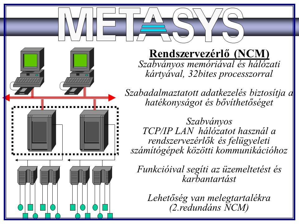 Rendszervezérlő (NCM) Szabványos memóriával és hálózati kártyával, 32bites processzorral Szabadalmaztatott adatkezelés biztosítja a hatékonyságot és bővíthetőséget Szabványos TCP/IP LAN hálózatot használ a rendszervezérlők és felügyeleti számítógépek közötti kommunikációhoz Funkcióival segíti az üzemeltetést és karbantartást Lehetőség van melegtartalékra (2.redundáns NCM)