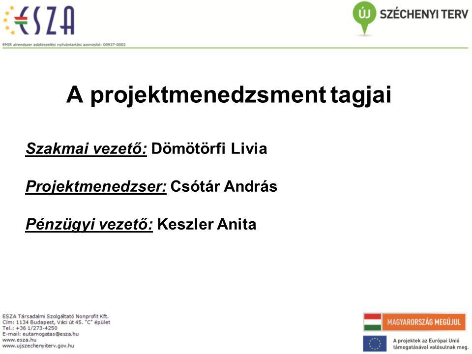 A projektmenedzsment tagjai Szakmai vezető: Dömötörfi Livia Projektmenedzser: Csótár András Pénzügyi vezető: Keszler Anita