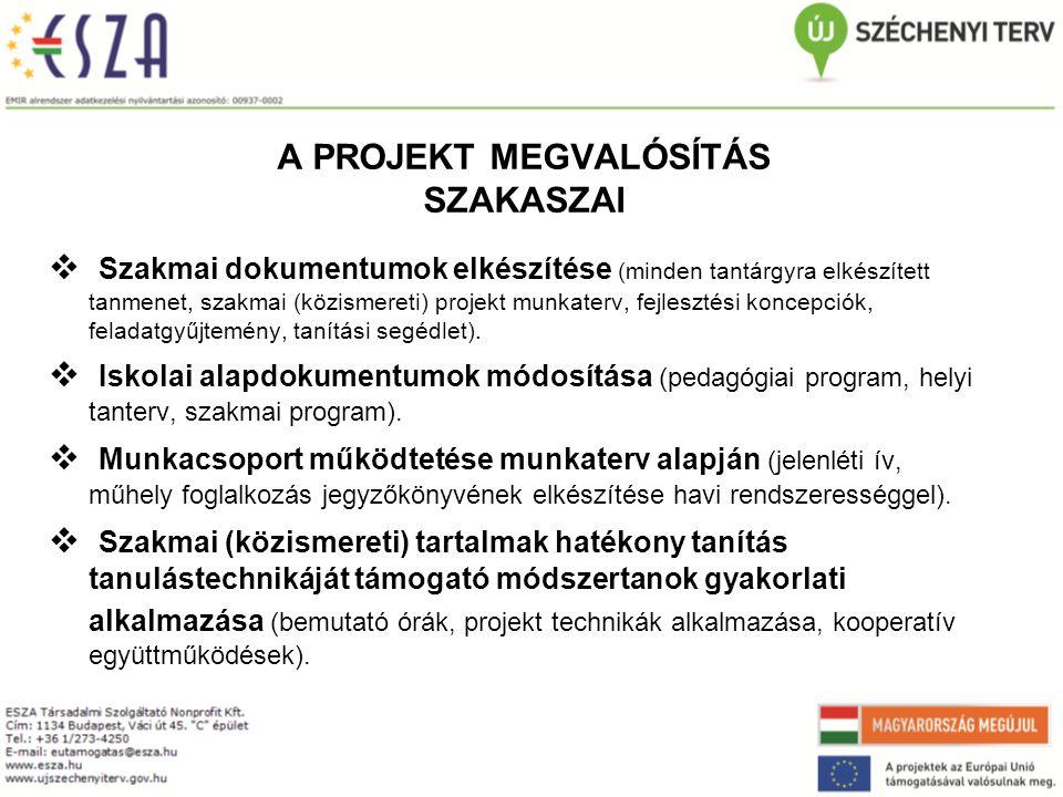 A PROJEKT MEGVALÓSÍTÁS SZAKASZAI  Szakmai dokumentumok elkészítése (minden tantárgyra elkészített tanmenet, szakmai (közismereti) projekt munkaterv, fejlesztési koncepciók, feladatgyűjtemény, tanítási segédlet).