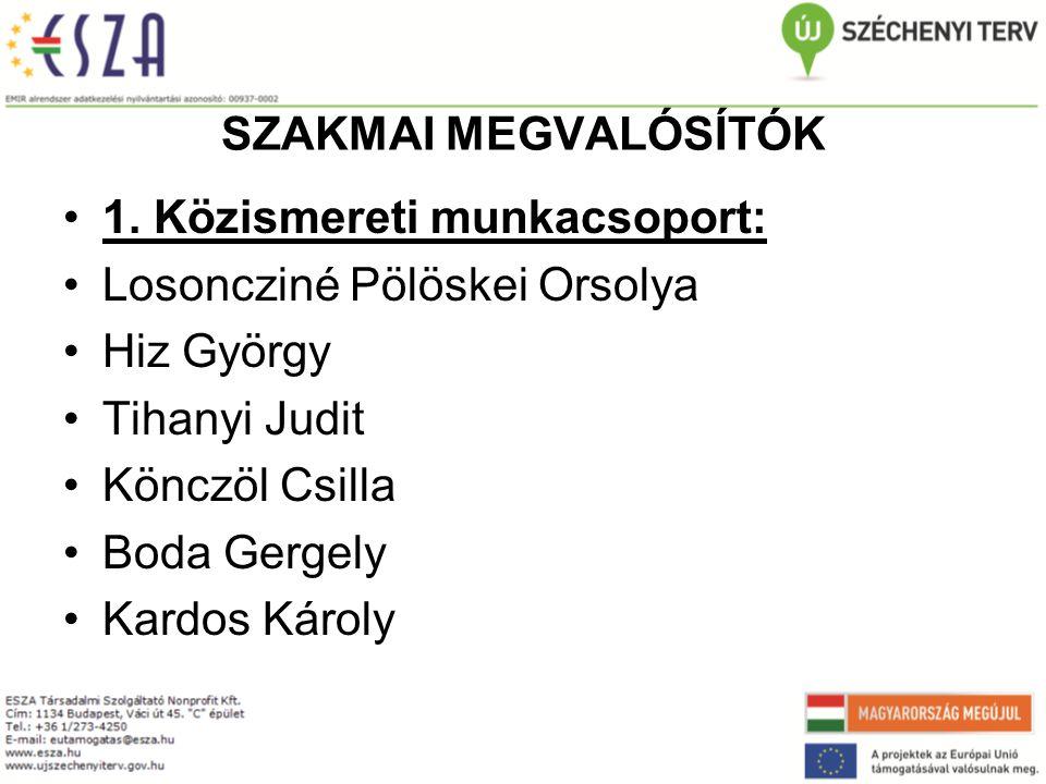 SZAKMAI MEGVALÓSÍTÓK 1.