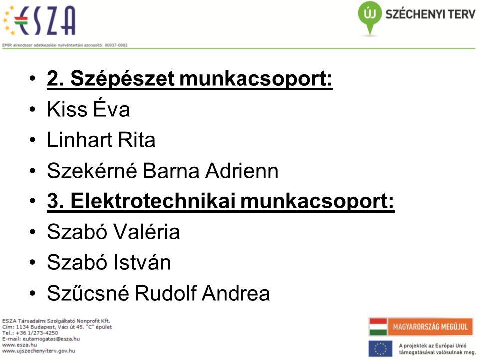 2. Szépészet munkacsoport: Kiss Éva Linhart Rita Szekérné Barna Adrienn 3.