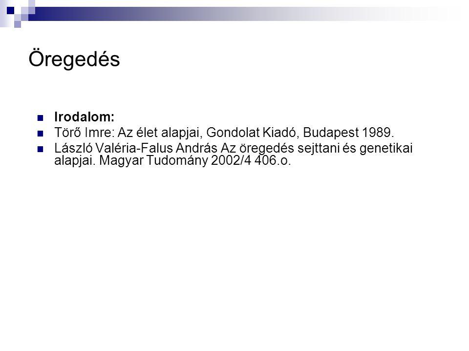 Öregedés Irodalom: Törő Imre: Az élet alapjai, Gondolat Kiadó, Budapest 1989. László Valéria-Falus András Az öregedés sejttani és genetikai alapjai. M
