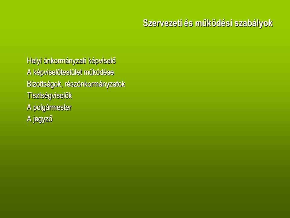 Szervezeti és működési szabályok Helyi önkormányzati képviselő A képviselőtestület működése Bizottságok, részönkormányzatok Tisztségviselők A polgármester A jegyző