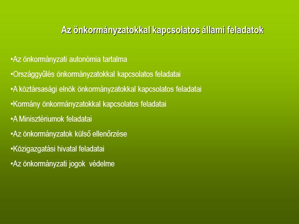 Az önkormányzatokkal kapcsolatos állami feladatok Az önkormányzati autonómia tartalma Országgyűlés önkormányzatokkal kapcsolatos feladatai A köztársasági elnök önkormányzatokkal kapcsolatos feladatai Kormány önkormányzatokkal kapcsolatos feladatai A Minisztériumok feladatai Az önkormányzatok külső ellenőrzése Közigazgatási hivatal feladatai Az önkormányzati jogok védelme