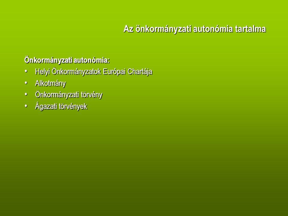 Az önkormányzati autonómia tartalma Az önkormányzati autonómia tartalma Önkormányzati autonómia: Helyi Önkormányzatok Európai Chartája Helyi Önkormányzatok Európai Chartája Alkotmány Alkotmány Önkormányzati törvény Önkormányzati törvény Ágazati törvények Ágazati törvények