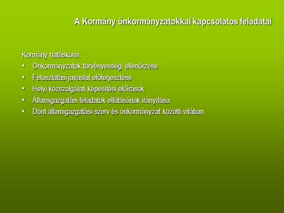 A Kormány önkormányzatokkal kapcsolatos feladatai Kormány hatáskörei: Önkormányzatok törvényességi ellenőrzése Önkormányzatok törvényességi ellenőrzése Feloszlatási javaslat előterjesztése Feloszlatási javaslat előterjesztése Helyi közszolgálati képesítési előírások Helyi közszolgálati képesítési előírások Államigazgatási feladatok ellátásának irányítása Államigazgatási feladatok ellátásának irányítása Dönt államigazgatási szerv és önkormányzat közötti vitában Dönt államigazgatási szerv és önkormányzat közötti vitában