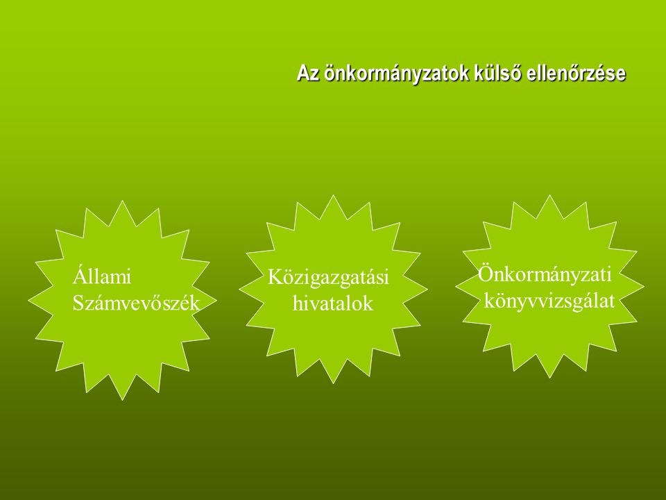 Az önkormányzatok külső ellenőrzése Állami Számvevőszék Közigazgatási hivatalok Önkormányzati könyvvizsgálat
