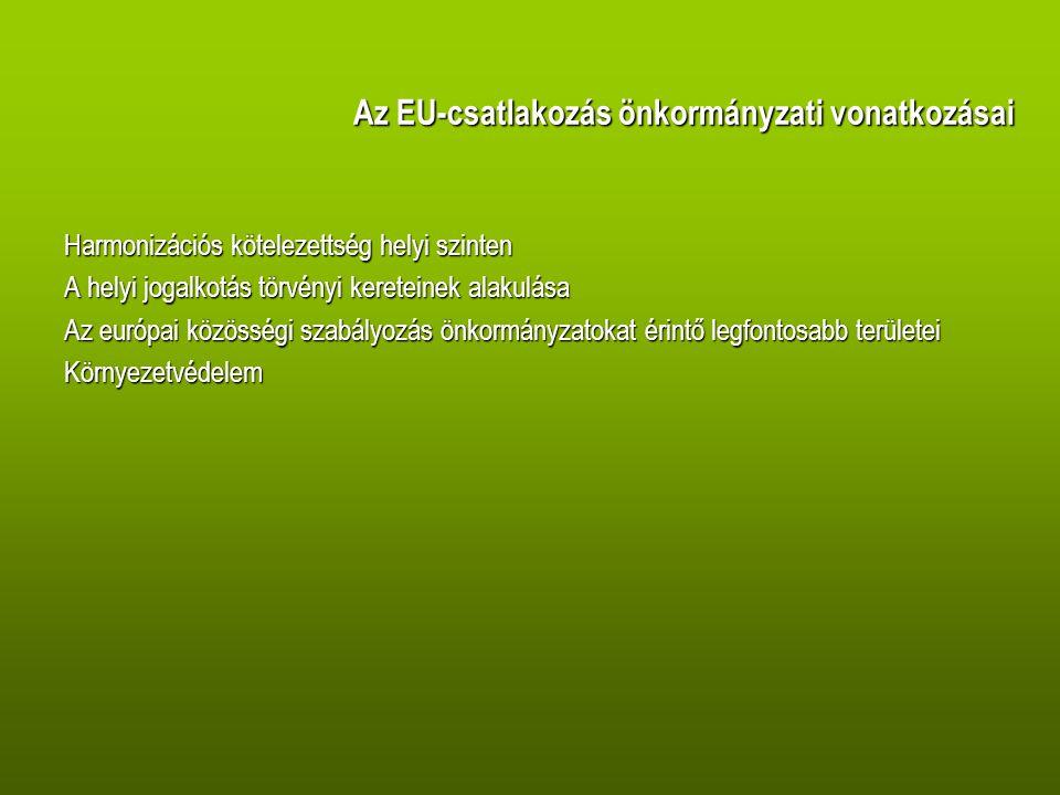 Az EU-csatlakozás önkormányzati vonatkozásai Harmonizációs kötelezettség helyi szinten A helyi jogalkotás törvényi kereteinek alakulása Az európai közösségi szabályozás önkormányzatokat érintő legfontosabb területei Környezetvédelem