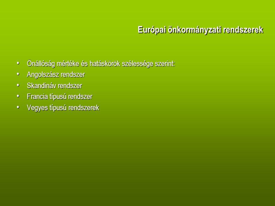 Európai önkormányzati rendszerek Önállóság mértéke és hatáskörök szélessége szerint: Önállóság mértéke és hatáskörök szélessége szerint: Angolszász rendszer Angolszász rendszer Skandináv rendszer Skandináv rendszer Francia típusú rendszer Francia típusú rendszer Vegyes típusú rendszerek Vegyes típusú rendszerek