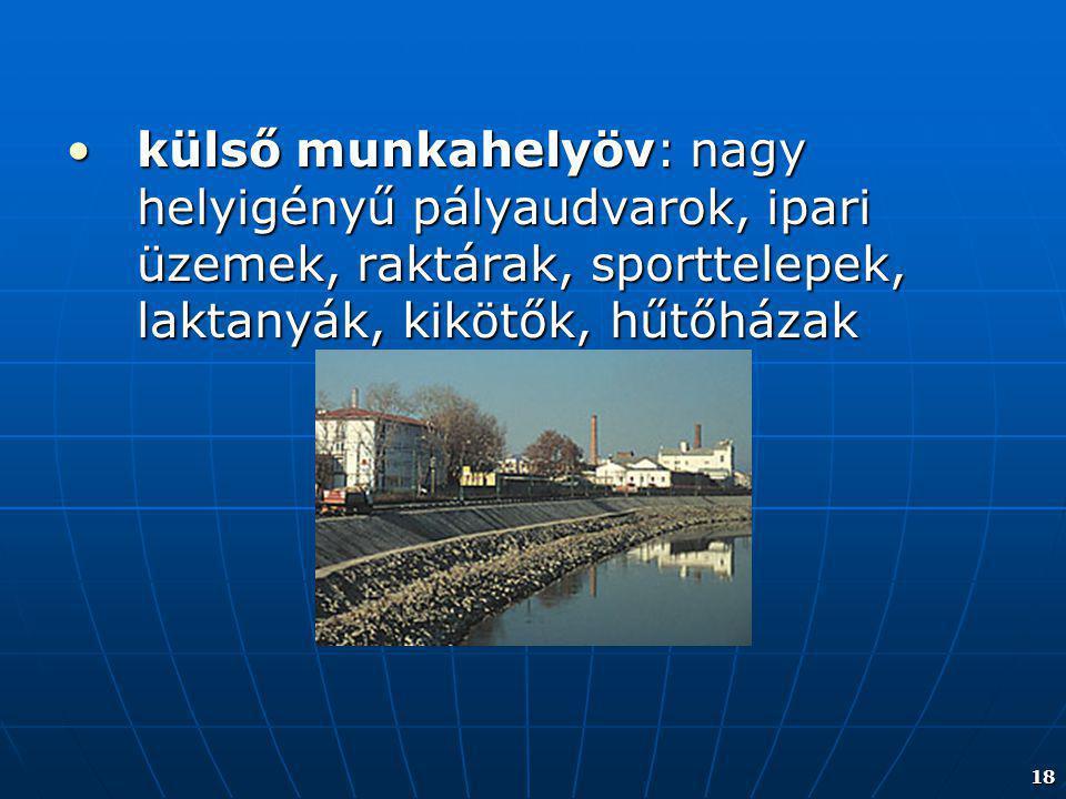 18 külső munkahelyöv: nagy helyigényű pályaudvarok, ipari üzemek, raktárak, sporttelepek, laktanyák, kikötők, hűtőházakkülső munkahelyöv: nagy helyigé