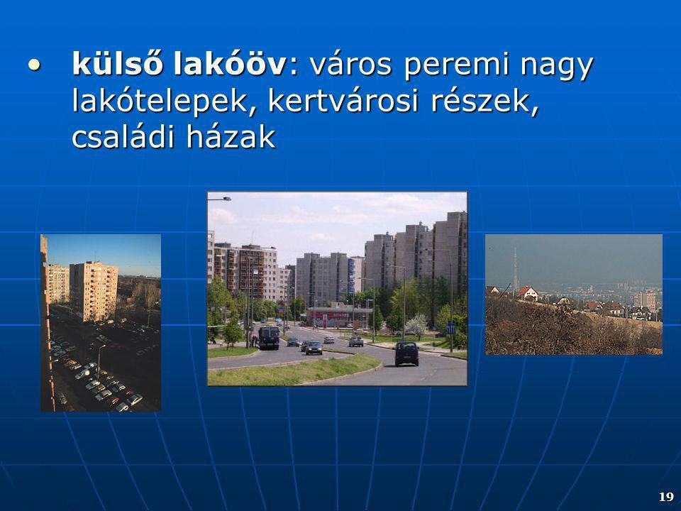 19 külső lakóöv: város peremi nagy lakótelepek, kertvárosi részek, családi házakkülső lakóöv: város peremi nagy lakótelepek, kertvárosi részek, család