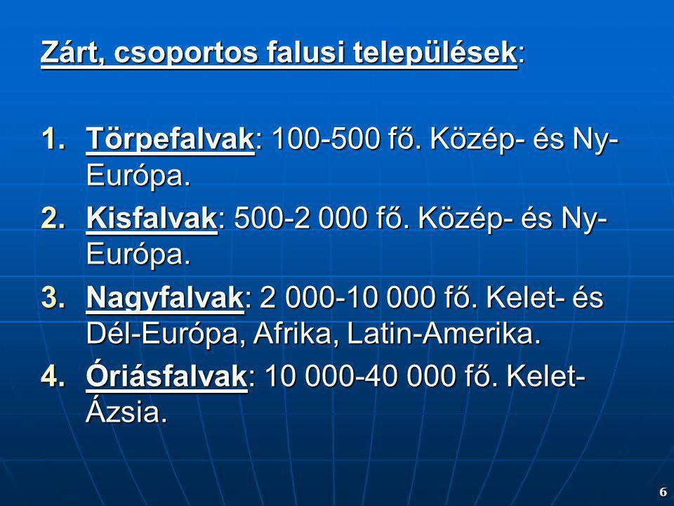 6 Zárt, csoportos falusi települések: 1.Törpefalvak: 100-500 fő. Közép- és Ny- Európa. 2.Kisfalvak: 500-2 000 fő. Közép- és Ny- Európa. 3.Nagyfalvak: