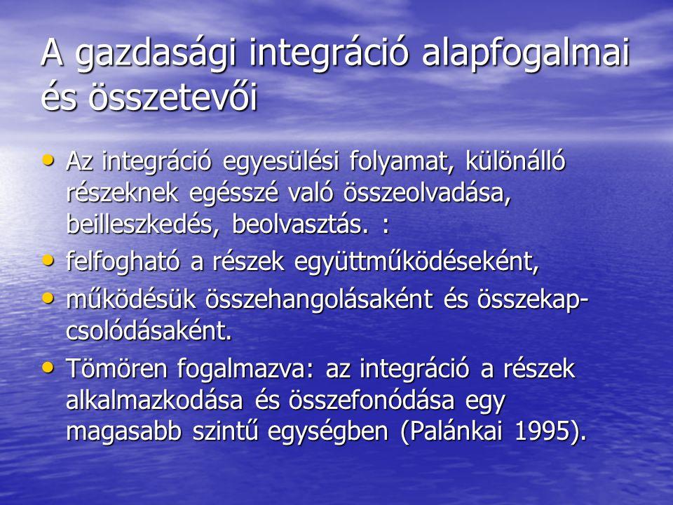 A gazdasági integráció alapfogalmai és összetevői Az integráció egyesülési folyamat, különálló részeknek egésszé való összeolvadása, beilleszkedés, be