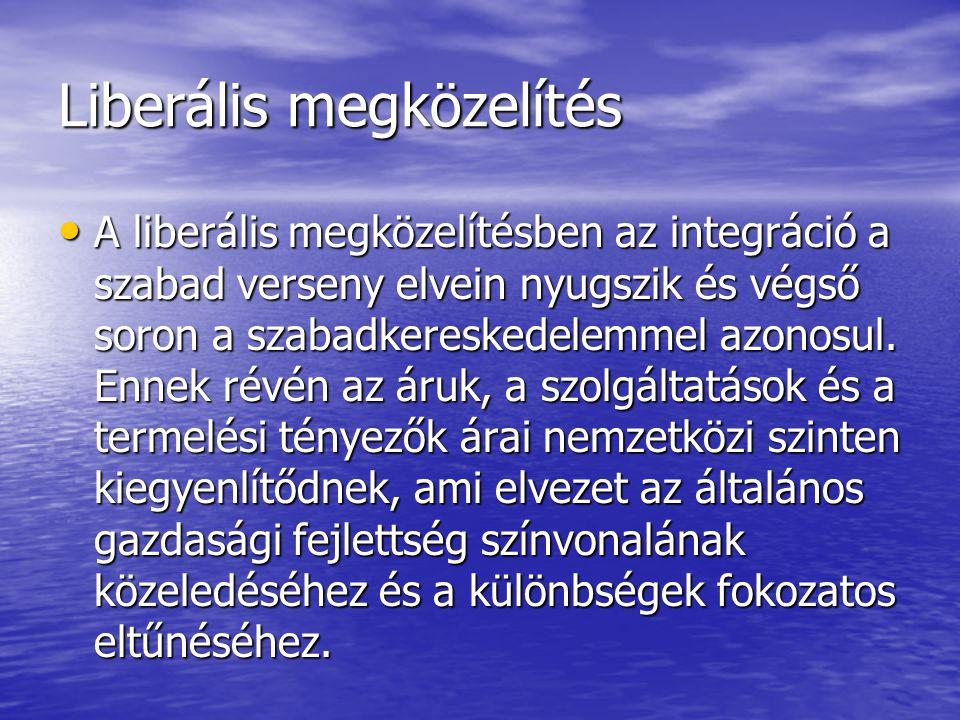 Liberális megközelítés A liberális megközelítésben az integráció a szabad verseny elvein nyugszik és végső soron a szabadkereskedelemmel azonosul.
