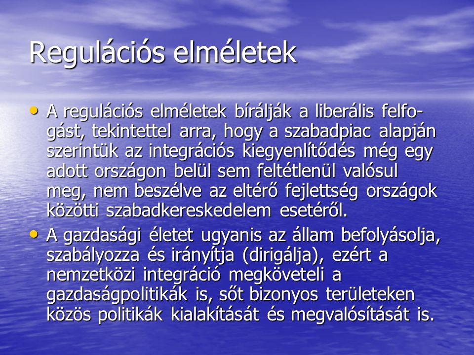 Regulációs elméletek A regulációs elméletek bírálják a liberális felfo- gást, tekintettel arra, hogy a szabadpiac alapján szerintük az integrációs kiegyenlítődés még egy adott országon belül sem feltétlenül valósul meg, nem beszélve az eltérő fejlettség országok közötti szabadkereskedelem esetéről.