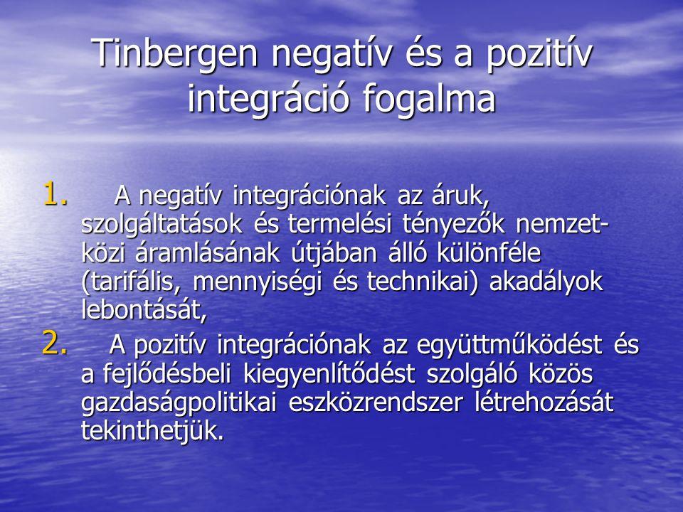 Tinbergen negatív és a pozitív integráció fogalma 1. A negatív integrációnak az áruk, szolgáltatások és termelési tényezők nemzet- közi áramlásának út