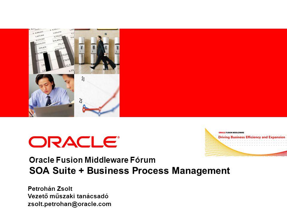 Oracle BPM termék architektúra – jövőkép XPDL, BPMN 2.0, BPEL WorklistProcess Portal MS OfficeBAM BPM Studio (with Biz and IT view) BPMN Process blueprint (optional step) BPM Studio: Integrated process, workflow, rules, and forms designer; includes simulation BPM Server: Integrated process engine supporting BPEL, XPDL/BPMN 2.0 and Human WF based on BPEL4People BPM Worklist: ADF Worklist application BPA Suite Addresses rich analysis and modeling requirements (e.g.