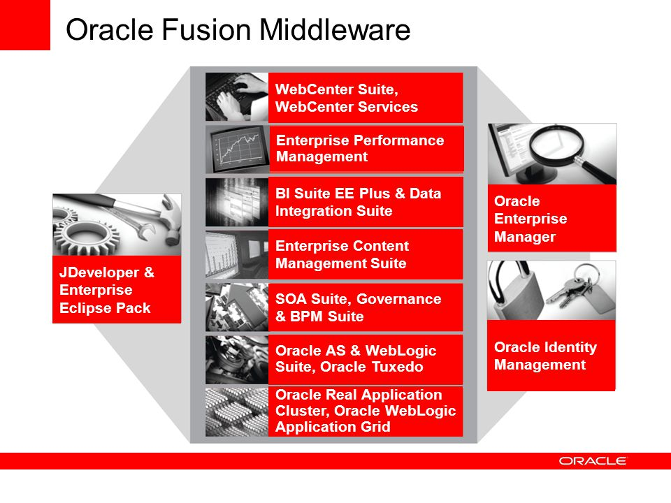 Oracle Fusion Middleware WebCenter Suite, WebCenter Services Enterprise Performance Management BI Suite EE Plus & Data Integration Suite Enterprise Content Management Suite SOA Suite, Governance & BPM Suite Oracle Real Application Cluster, Oracle WebLogic Application Grid Oracle Identity Management Oracle Enterprise Manager JDeveloper & Enterprise Eclipse Pack Oracle AS & WebLogic Suite, Oracle Tuxedo