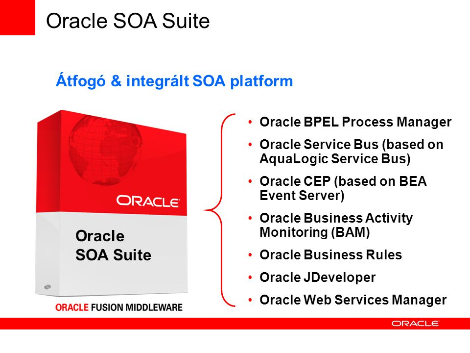 Oracle SOA Suite Oracle BPEL Process Manager Oracle Service Bus (based on AquaLogic Service Bus)‏ Oracle CEP (based on BEA Event Server)‏ Oracle Business Activity Monitoring (BAM)‏ Oracle Business Rules Oracle JDeveloper Oracle Web Services Manager Átfogó & integrált SOA platform Oracle SOA Suite
