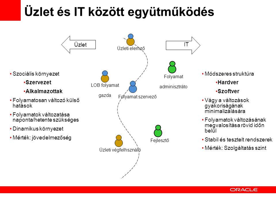 Üzlet és IT között együtműködés Üzleti végfelhsználó LOB folyamat gazda Fejlesztő Folyamat adminisztráto Folyamat szervező Üzleti elemző Üzlet IT Szociális környezet Szervezet Alkalmazottak Folyamatosan változó külső hatások Folyamatok változatása naponta/hetente szükséges Dinamikus környezet Mérték: jövedelmezőség Módszeres struktúra Hardver Szoftver Vágy a változások gyakoriságának minimalizálására Folyamatok változásának megvalosítása rövid időn belül Stabil és tesztelt rendszerek Mérték: Szolgáltatás szint