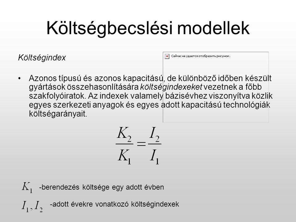 Költségbecslési modellek Költségindex Azonos típusú és azonos kapacitású, de különböző időben készült gyártások összehasonlítására költségindexeket ve