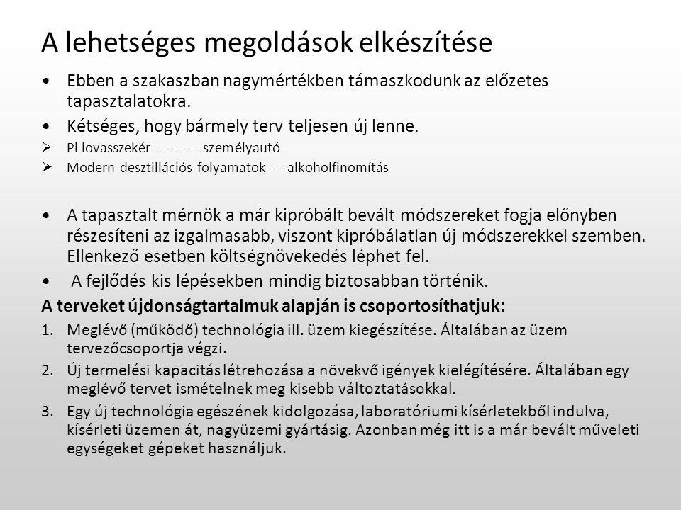 Hierarchikus folyamattervezés Döntési hierarchia vázlata: 1.
