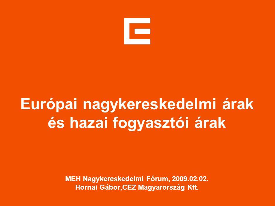 Európai nagykereskedelmi árak és hazai fogyasztói árak MEH Nagykereskedelmi Fórum, 2009.02.02. Hornai Gábor,CEZ Magyarország Kft.