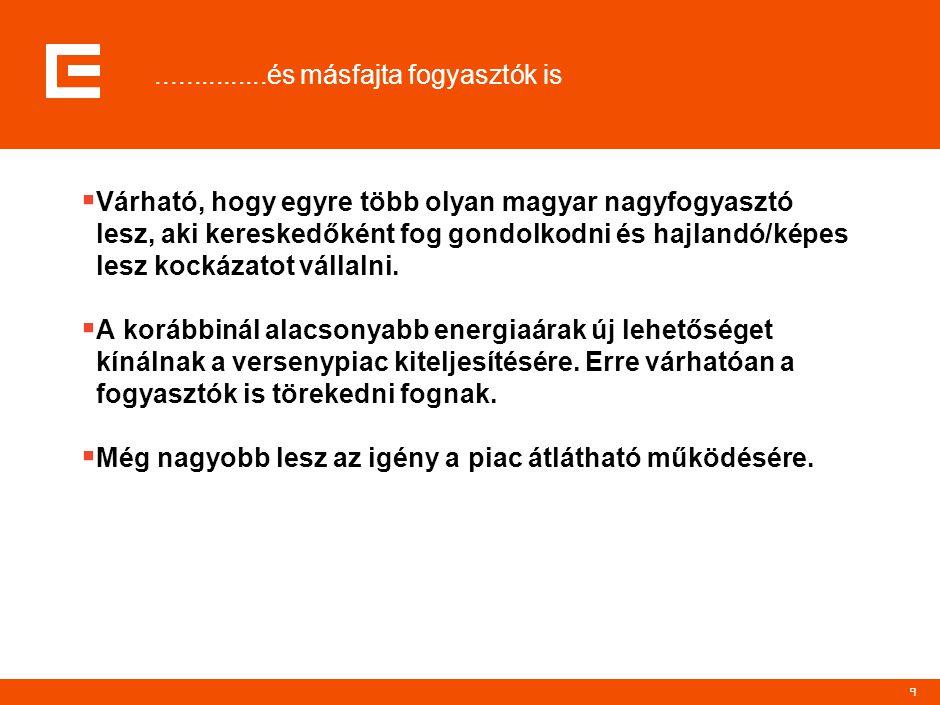 9...............és másfajta fogyasztók is  Várható, hogy egyre több olyan magyar nagyfogyasztó lesz, aki kereskedőként fog gondolkodni és hajlandó/ké