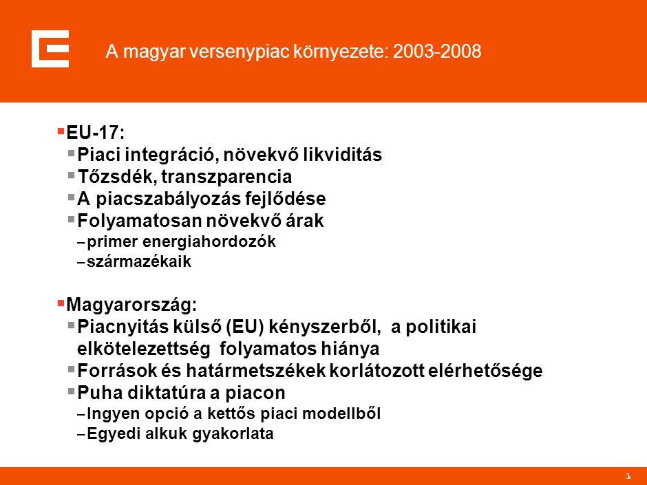 1 A magyar versenypiac környezete: 2003-2008  EU-17:  Piaci integráció, növekvő likviditás  Tőzsdék, transzparencia  A piacszabályozás fejlődése 