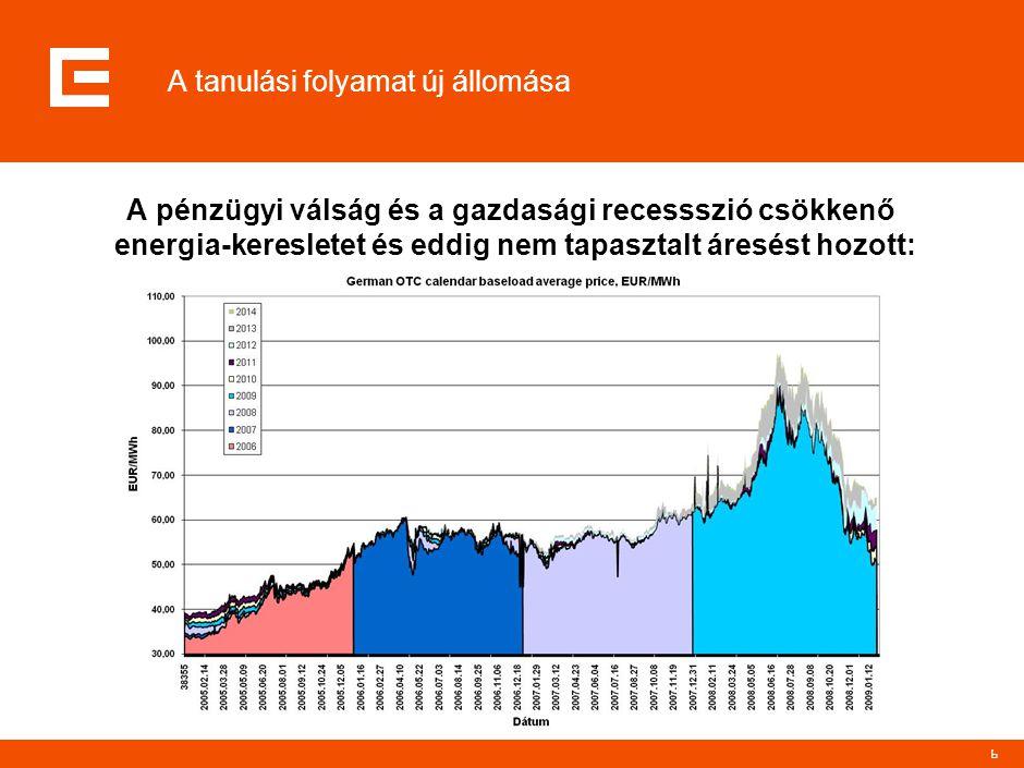 7 A tanulási folyamat új állomása Az áresés a továbbra is fennálló német-magyar piaci prémium (kb.