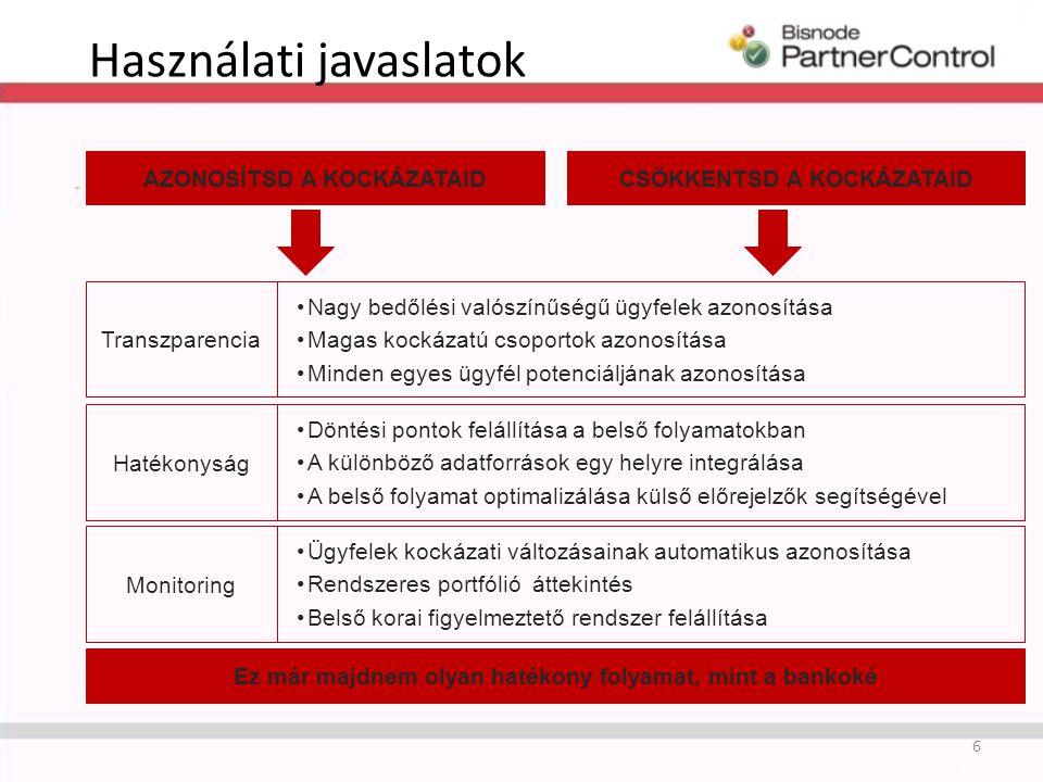 Behajtási politika A kockázatot ugyanúgy figyelembe kell venni, mint a kintlévőség mértékét Az alapja egy döntési tábla 27