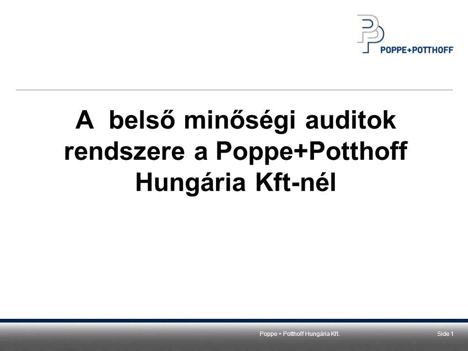 Poppe + Potthoff Hungária Kft.Side 2 A belső minőségi auditok rendszere a P+P Hungária Kft-nél 1.Rendszerauditok 2.Folyamatauditok 3.Termékauditok /rekvalifikációs vizsgálatok 4.Területi gyorsauditok