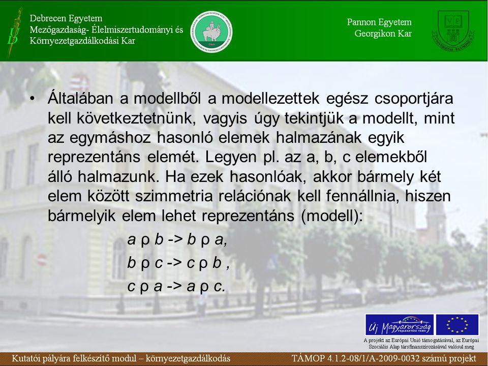 Általában a modellből a modellezettek egész csoportjára kell következtetnünk, vagyis úgy tekintjük a modellt, mint az egymáshoz hasonló elemek halmazának egyik reprezentáns elemét.