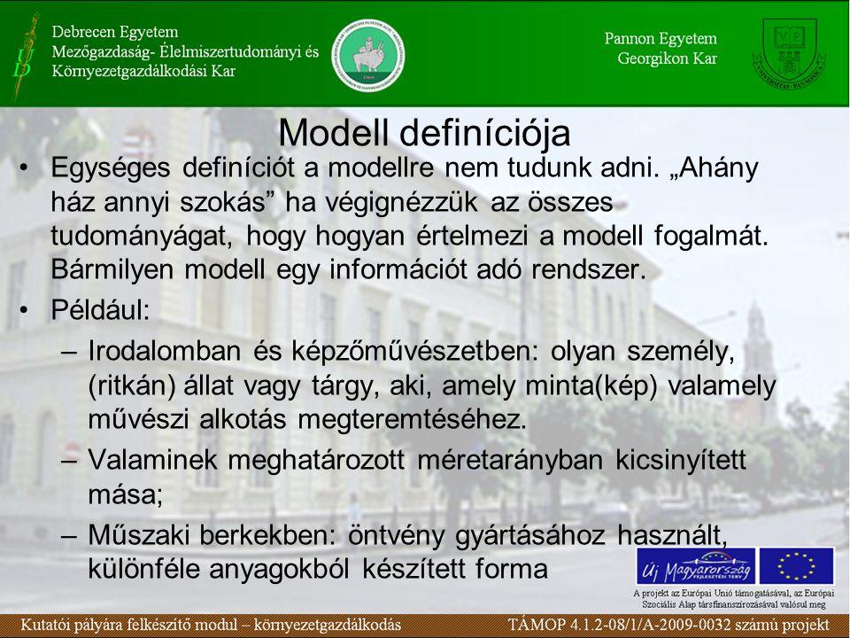 Modell definíciója Egységes definíciót a modellre nem tudunk adni.
